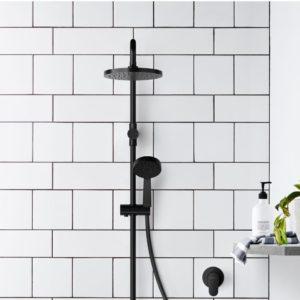 shower design with matte black fixtures
