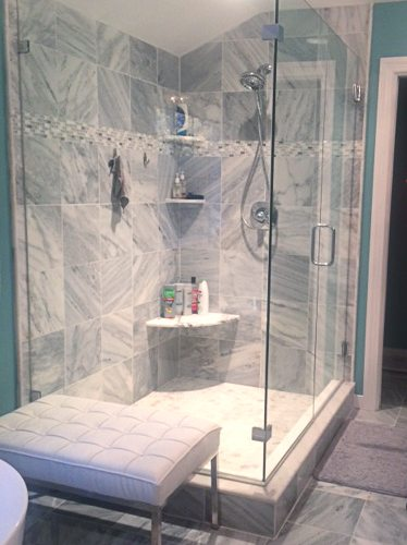 shower design remodel gray tile with glass enclosure