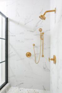 shower design gold bronze fixtures