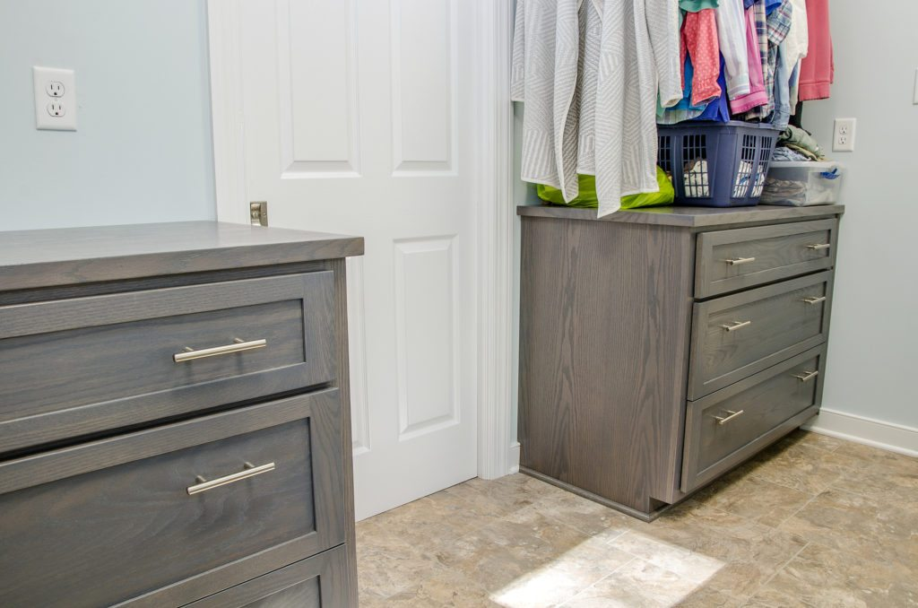 laundry room addition with custom cabinets