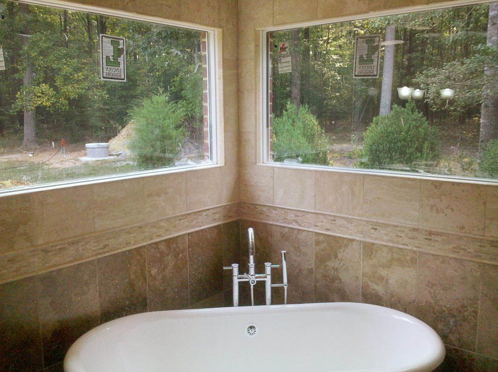 freestanding tub with large windows