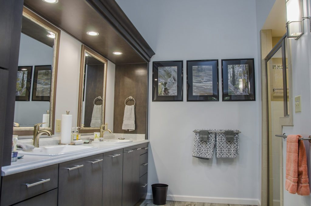 contemporary spa bathroom with LED lighting