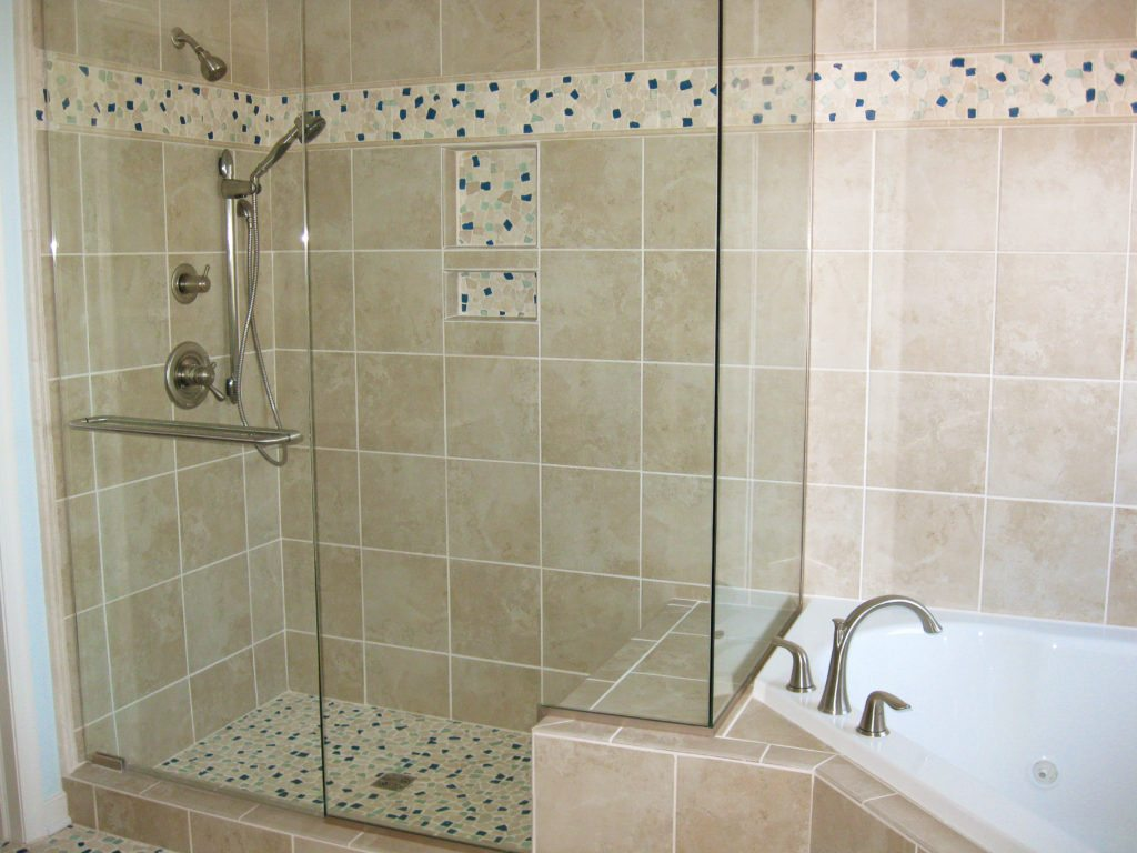 glass shower with accent tile