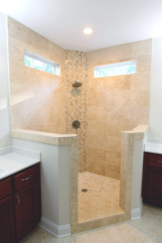 corner shower with accent windows