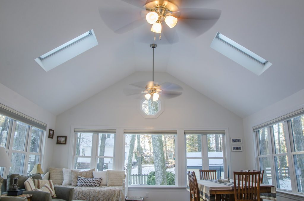 sunroom addition with two skylights
