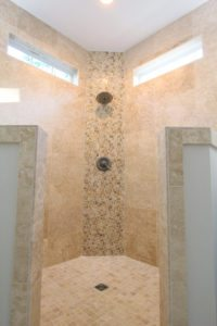 beautiful walk in shower in this bathroom remodel